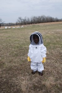 Anya learning the ropes of beekeeping.